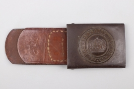 Saxony - WWI EM/NCO buckle with leather tab - Peucker