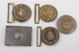 Lot of five belt buckles