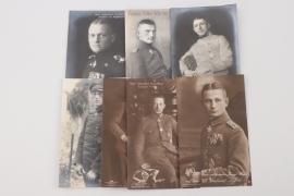 7 + WWI fighter aces portrait postcards