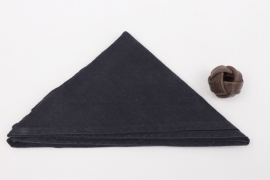 HJ black scarf with leather woggle