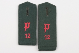 Heer Panzer Abw.Abt. 12 two single shoulder boards - EM