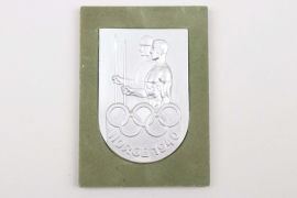 """1940 Olympic Games donation plaque """"NORGE 1940"""" with sample board - HOYANG"""