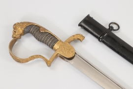 Cavalry officer's lion head sabre - wide blade