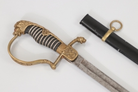 Cavalry officer's lion head sabre - etched blade