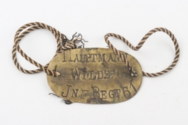 Inf.Regt.61 imperial military ID tag to Hptm. Wilde