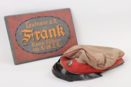 Lt. Frank - Bavarian field cap with wooden wall plaque