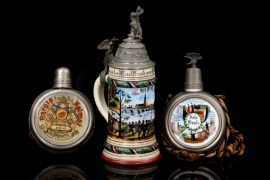 Imperial reservist's beer mug and two reservists' canteens