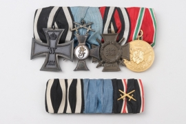 WWI/Württemberg - 4-place medal bar with ribbon bar