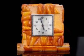 Amber fireplace clock/table clock