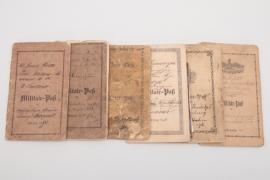 6 x Militär-Paß paybooks around 1870