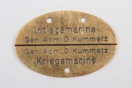 "Generaladmiral Otto Kummetz ""identification tag"" - 800"