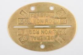 """General Karl von Roques """"identification tag"""" - 800"""