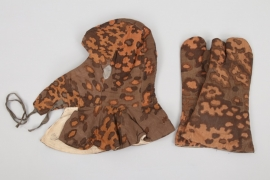 Waffen-SS winter oak leaf camo hood & mittens