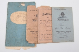 Lot of imperial Soldbuch and Militärpass