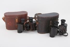 WW1 2 x binoculars with cases
