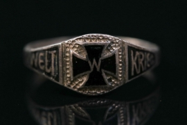 """Silver ring with Iron Cross """"Weltkrieg"""""""