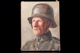WW1 oil painting of a German soldier - 1917