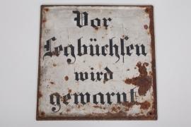 """WWI sign """"Vor Legbüchsen wird gewarnt"""" - 43x43"""