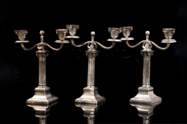 3 x 1906/1912 imperial candle holders - 800 silver