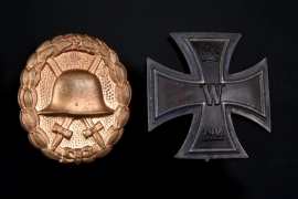 Iron Cross 1st Class 1914 and Golden Wound Badge