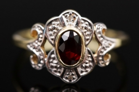 Red garnet and diamond Art Nouveau style ring