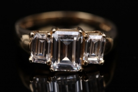 Emerald cut Cubic Zirconia ring