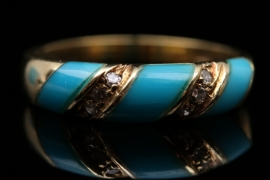 Vintage turquoise and diamond band