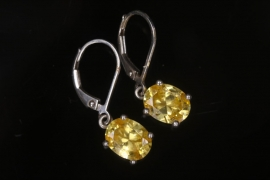 Silver earrings with yellow cubic zirconia