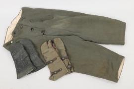 Wehrmacht/Waffen-SS winter trousers & 2 x mittens