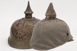 Prussia -  M1915 Ersatz spike helmet with cover - EM/NCO