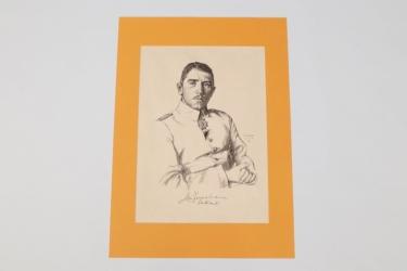 Imperial Germany - Max Immelmann lithograph print - O. Graf