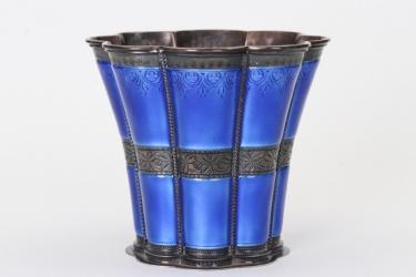 Blau emaillierter Silberbecher - Anton Michelsen Dänemark Sterling