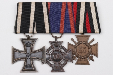 Third Reich 3-medal Iron Cross bar to WW1 veteran
