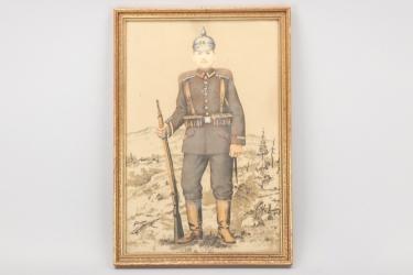Imperial Germany - WWI IR14 framed portrait photo