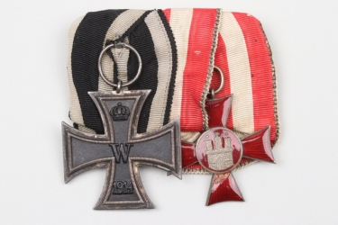 Imperial Germany - Iron Cross & Hanseatic Cross medal bar