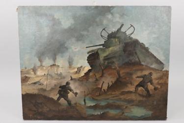 """1943/44 impressive oil of a """"Panzerschlacht"""" tank battle (Otto Bloss)"""