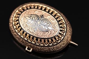 Golden Biedermeier brooch