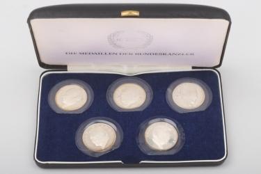 """1949-1979 """"Die Medaillen der Bundeskanzler"""" silver coins in case"""