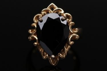 Vergoldeter Silberring mit schwarzem Spinell