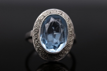 Vintage silver ring from the 20s/30s with blue glass-gemstone