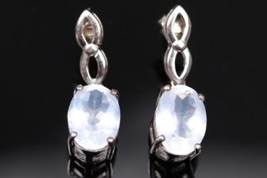Silver earrings with large milky-transparent quartzes