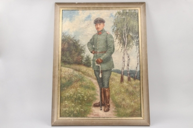 Imperial Germany - oil of an artillery officer