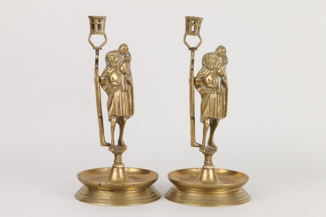 Ein Paar gotischer Christopherus-Leuchter, Historismus um 1880