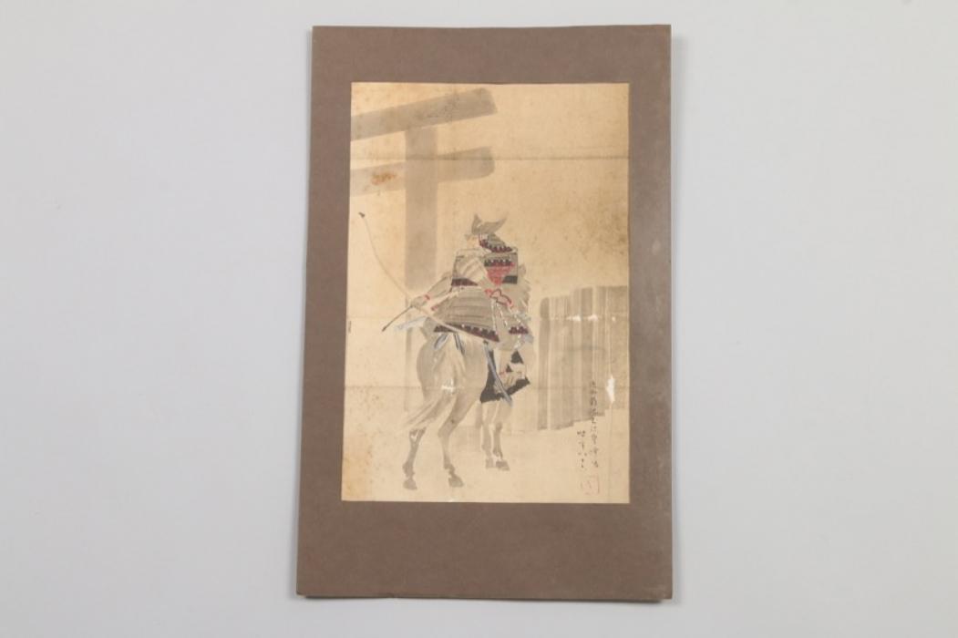 Berittener Samurai, Gouache, Japan um 1900