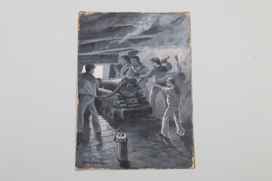 """Guache """"Geschützmannschaft"""", Charles John De Lacy, 19. Jh."""