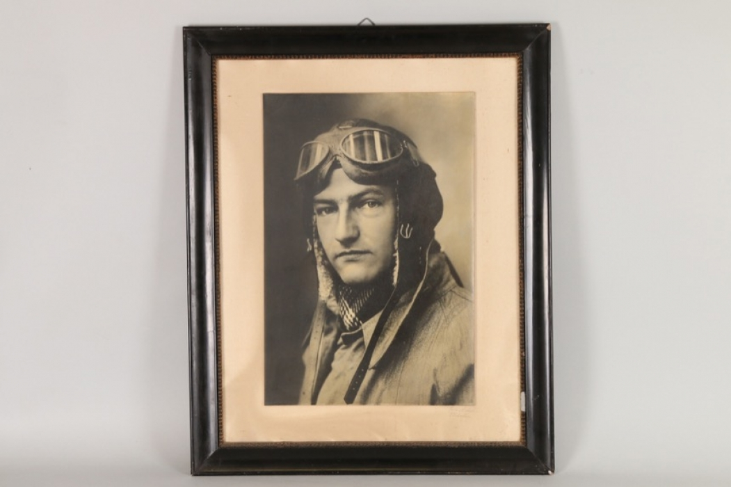 Large framed photo of a pilot