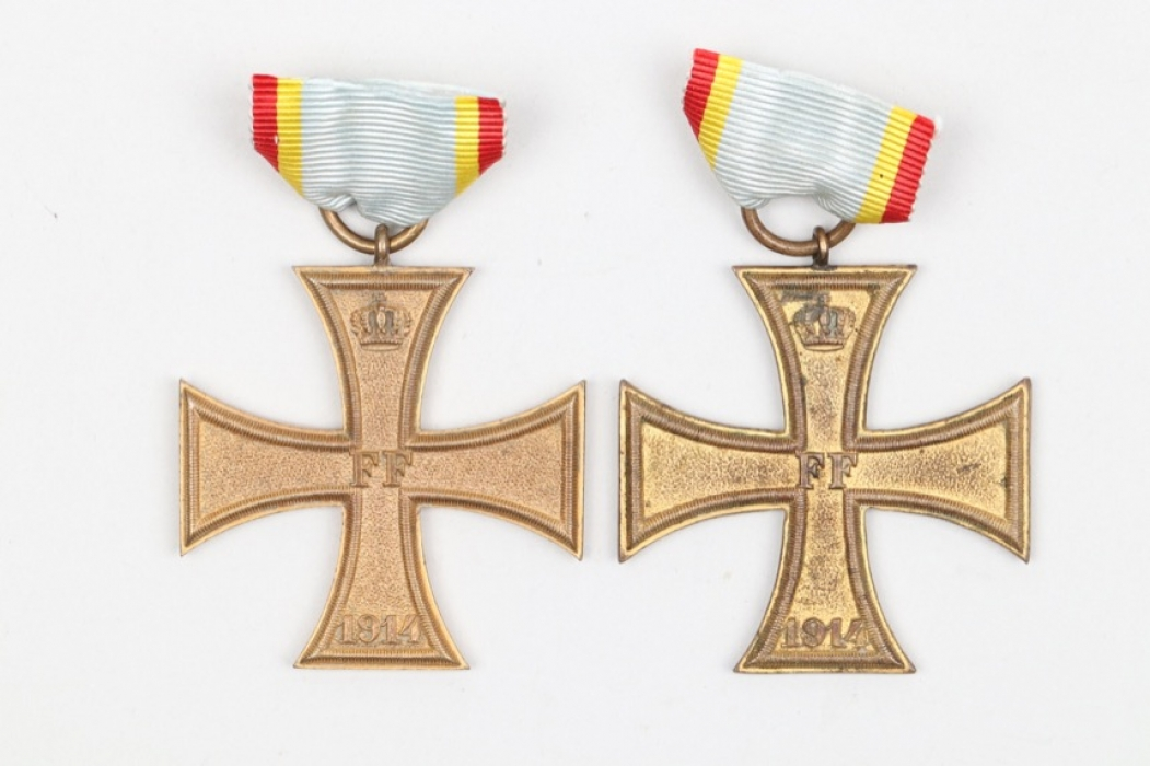 Mecklenburg-Schwerin - 2 Military Merit Crosses 2nd Class 1914