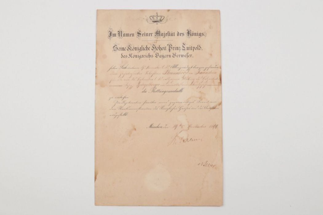 Bavaria - certificate to Lifesaving Medal 1889