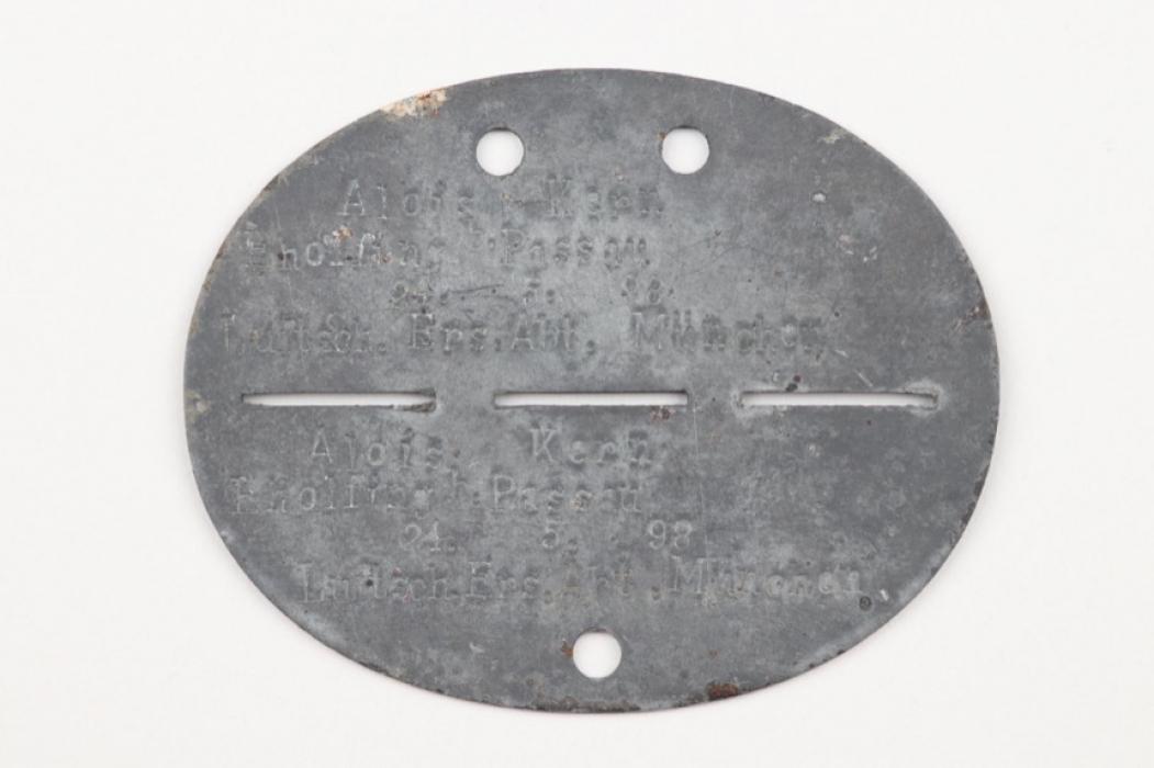 WW1 Luftschiffer Ersatz-Abteilung München ID tag