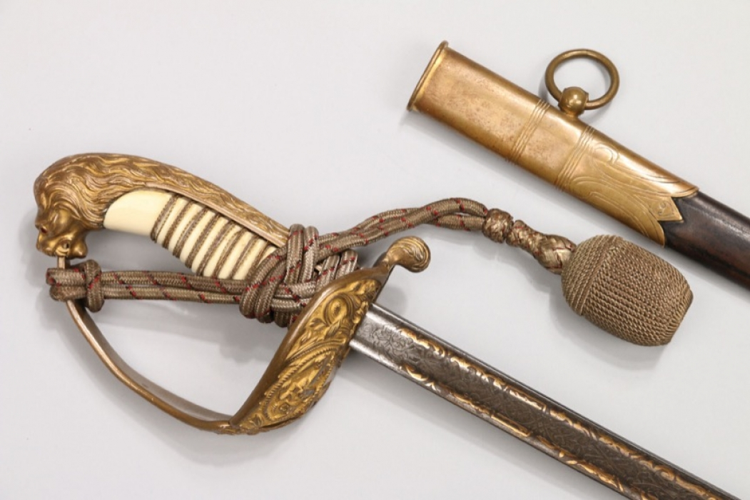 Kaiserliche Marine officers Lion's head sabre with damask blade